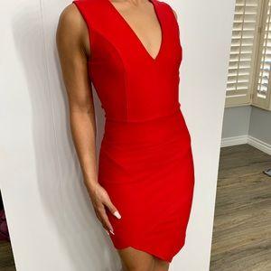 NWT red Lulus tight dress V neck